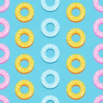 Синий фон с пончиками. бесшовные векторные шаблон.