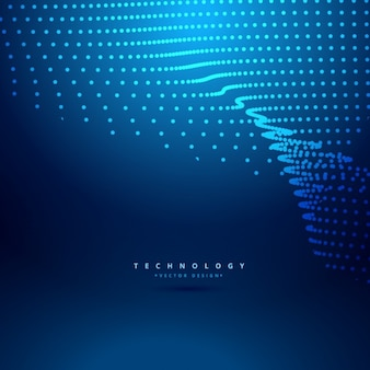 Blue background with dots in wave fomr