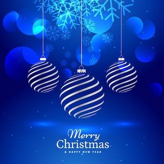 Blue background with elegant christmas balls