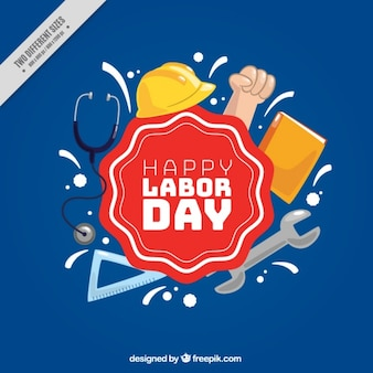 Blue background with elements of the labor day