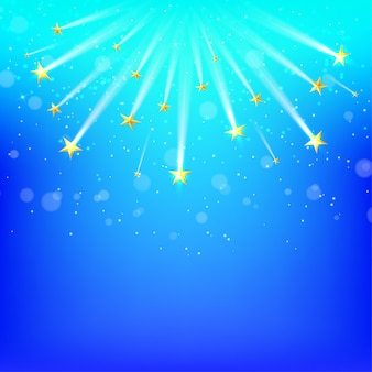 Blue  background with falling gold stars