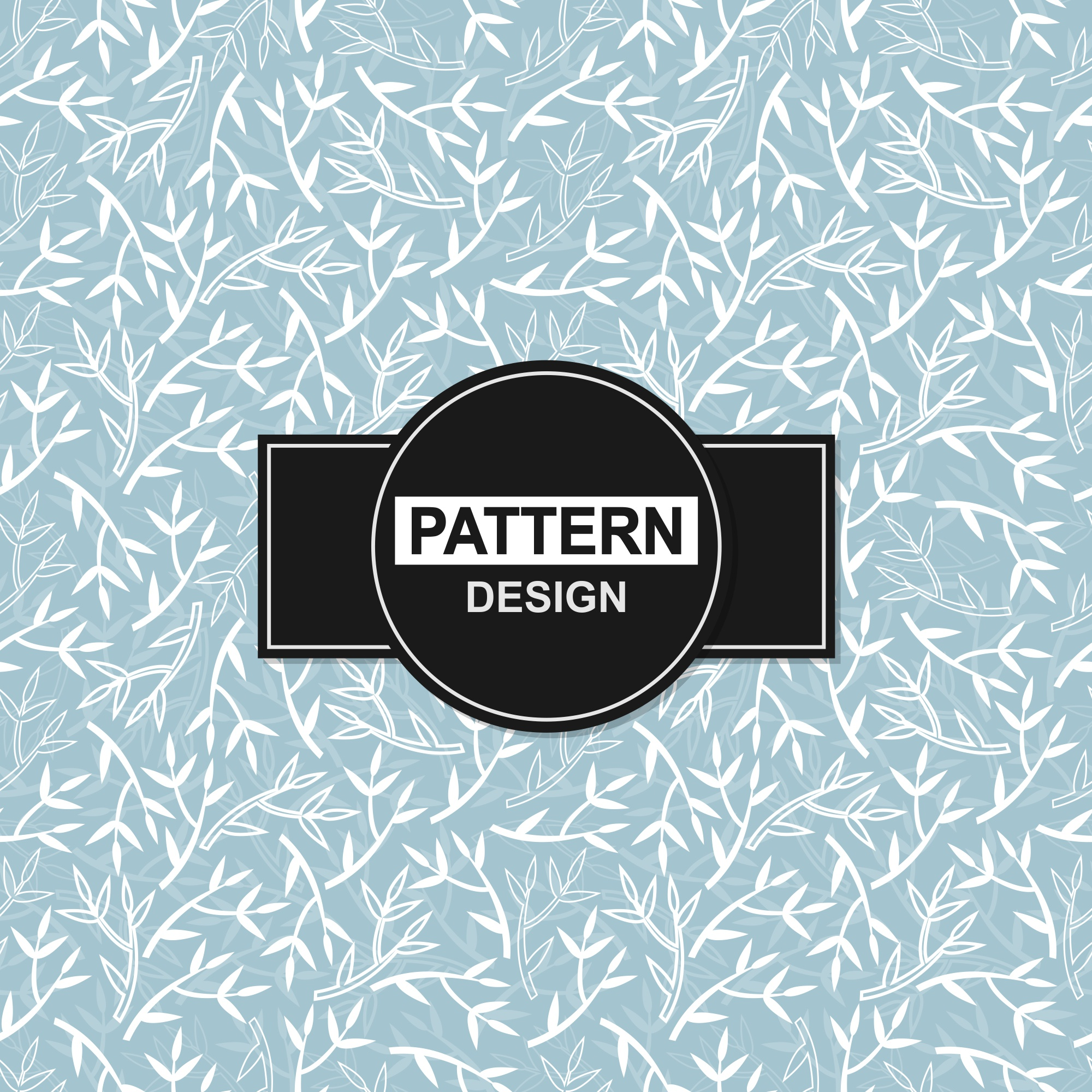 Blue background with floral ornaments in seamless pattern