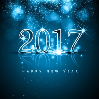 Blue background with glass numbers for new year
