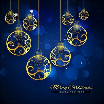 Blue background with golden christmas balls