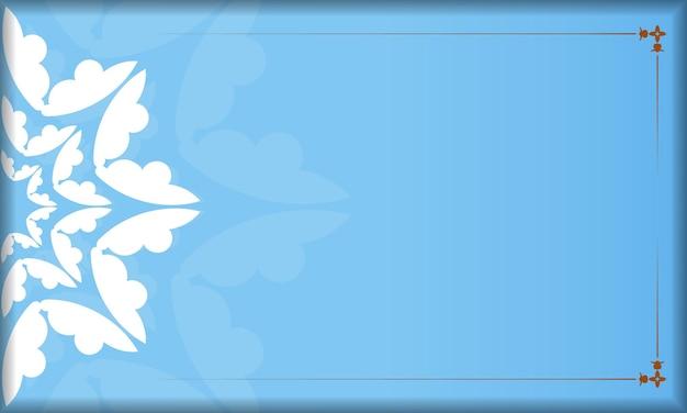あなたのロゴやテキストの下にデザインのためのギリシャの白い装飾品と青い背景
