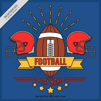 Blue background with hand drawn american football badge