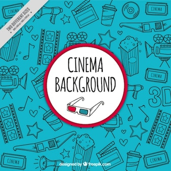 Blue background with hand-drawn cinema items