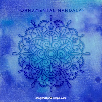 Blue background with hand drawn mandala ornament