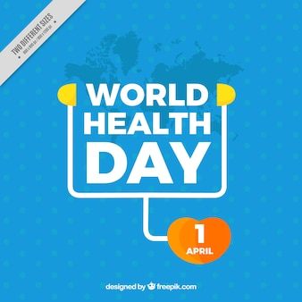 Blue background with health day stethoscope