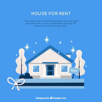 Blue background with a house for rent