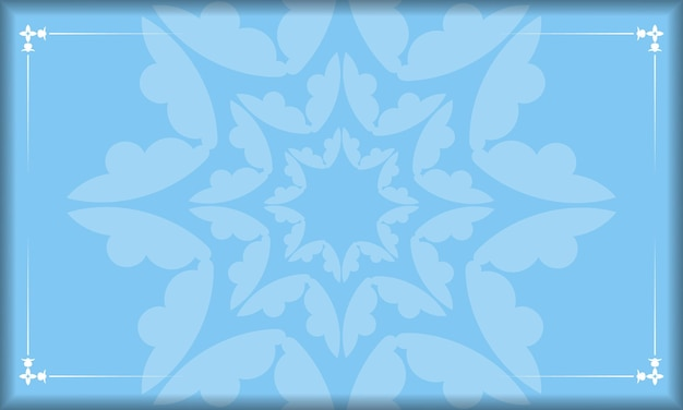 Blue background with indian white ornaments for design under your logo or text