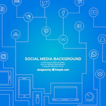 Blue background with lines and social networking icons