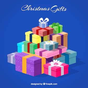 Blue background with lots of gifts