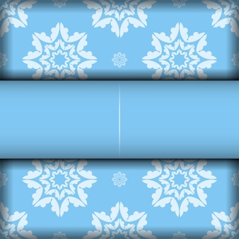 Blue background with luxurious white ornaments for design under your logo or text