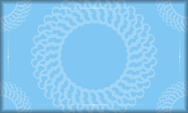 Blue background with luxurious white ornaments for logo or text design