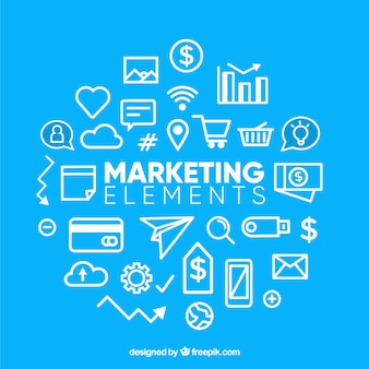 Blue background with marketing elements