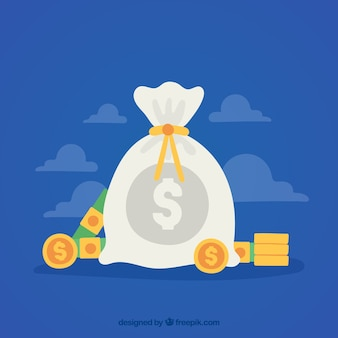 フラットデザインのお金の袋の青い背景