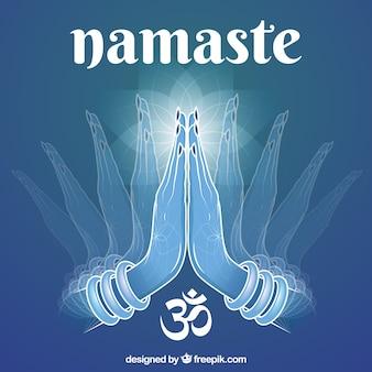 Blue background with namaste greeting