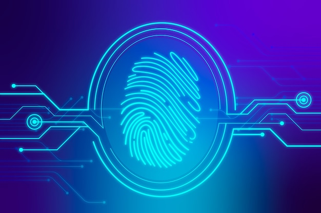 Blue background with neon fingerprint