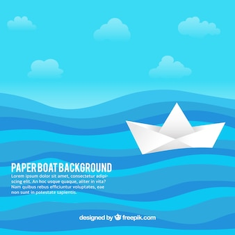 Blue background with paper boat in flat design