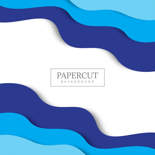 Blue background with paper cut shapes.
