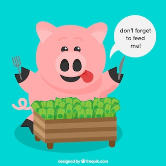 Blue background with piggy bank piggy bank eating banknotes