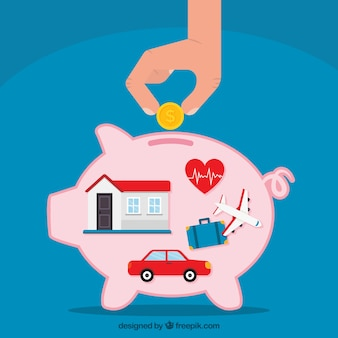 Blue background with piggy bank