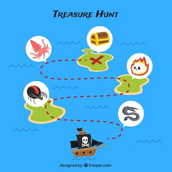 Blue background with pirate treasure route