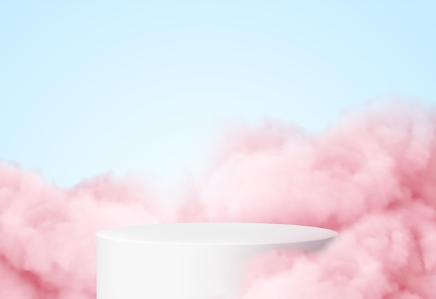 Blue background with a product podium surrounded by pink clouds.