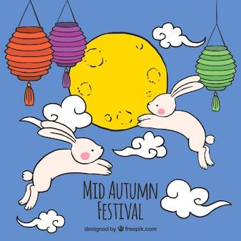 青い背景にウサギとランタン、中秋祭