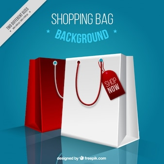 Blue background with realistic shopping bags