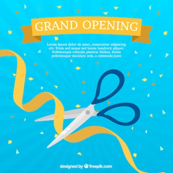 Blue background with scissors and golden ribbon
