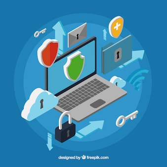 Blue background with security items in isometric design