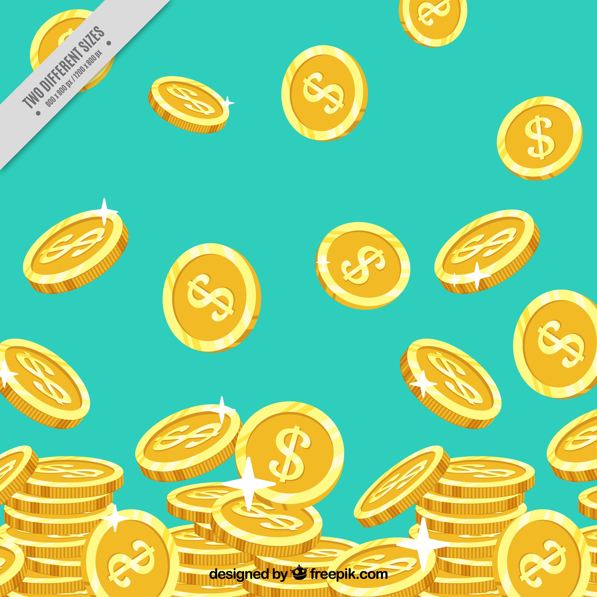 Blue background with shiny golden coins