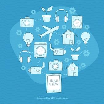인터넷으로 사물의 스케치와 파란색 배경