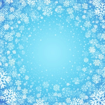 Blue background with snowflakes, greeting card