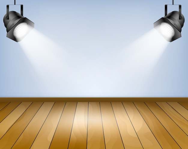 Blue background with spotlights. studio with wooden floor