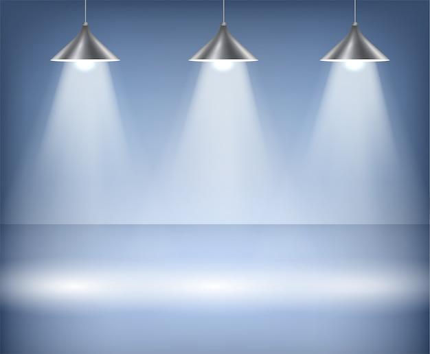 Синий фон с точечными светильниками. студия.