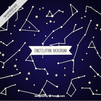 Blue background with stars and constellations