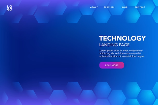 Blue background with tech hexagon