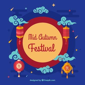青い背景、伝統的な要素、中秋の祭り
