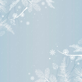 Blue background with winter decoration vector