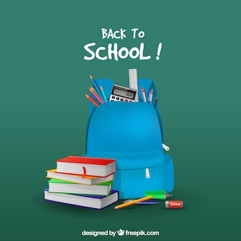 Blue backpack background and books in realistic style