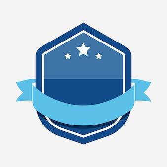 Blue badge embellished with a banner