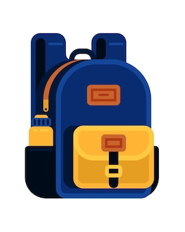 Blue bag school backpack with drink bottle for boy in flat style