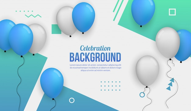 Blue ballon celebration background for birhtday party, graduation, celebration event and holiday