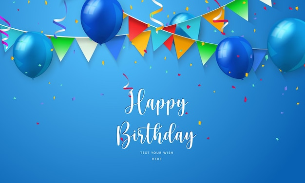 Blue ballon and colorful ribbon happy birthday celebration card banner template background