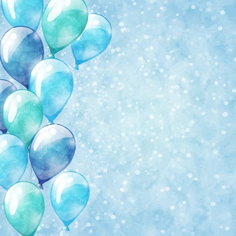 Blue balloons, background with watercolor