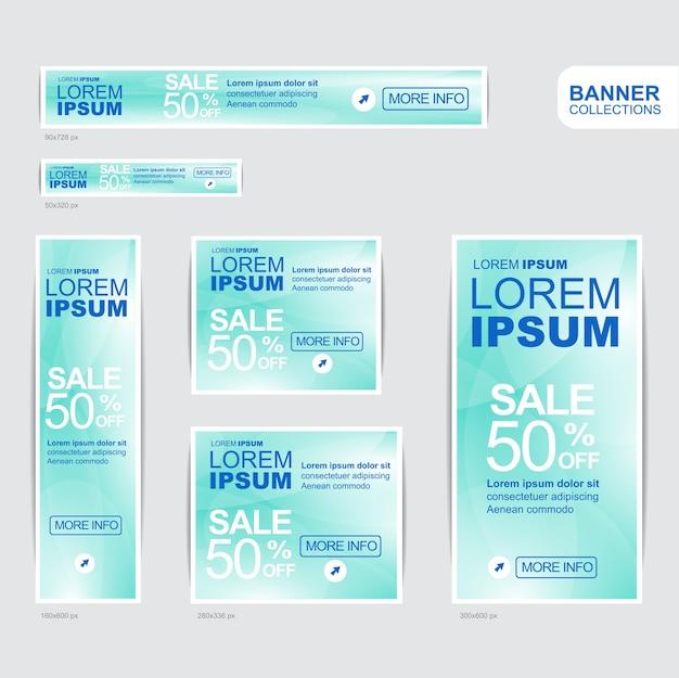 Blue banner advertising templates design