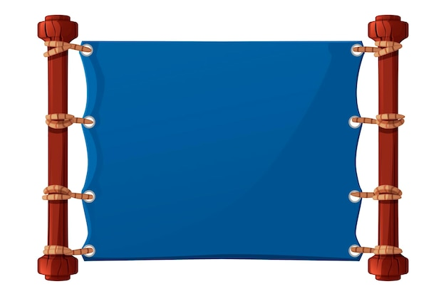 Blue banner for the game, fabric blank template. illustration of textile blank poster with ropes for gui.